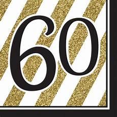 16 servietten 60 geburtstag black and gold