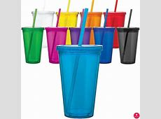 Acrylic Tumblers Double Wall Insulated Cups w/ Lid & Straw