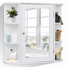 costway multipurpose wall surface bathroom storage cabinet mirror white finish walmart