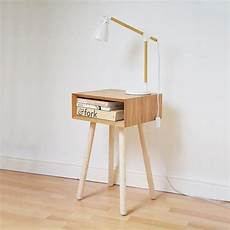 nightstand bedside table handmade mid century oak