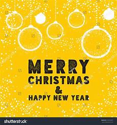 christmas greeting card with bauble in yellow merry christmas lettering vector illustration