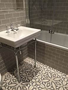 vintage metro meets floral cement tiles in this stunning