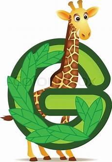 Animal Alphabet G With Giraffe Stock Vector
