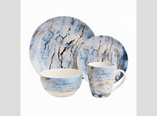 American Atelier 16 Piece Blue/Gold Marble Dinnerware Set