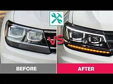 vw tiguan standard to led headlight installation