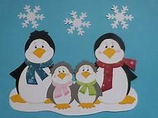 Bastelvorlage Pinguin Papier - fensterbilder tonkarton familie pinguin winter