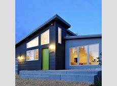 Contemporary home. Dark grey with minimal white trim. No