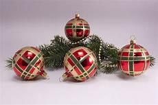 4 Weihnachtskugeln 6cm Rot Glanz Kariert Onlineshop F 252 R