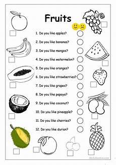 do you like apples fruits worksheet english esl
