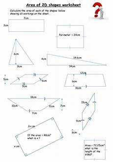 shapes areas worksheets 1036 area of 2d shapes worksheet with answers by keithellingham teaching resources tes