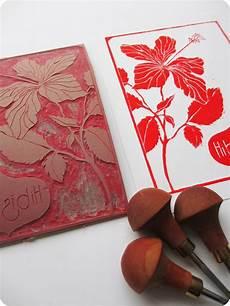 Linogravure 1 Par Tadaam Hibiscus Linogravure