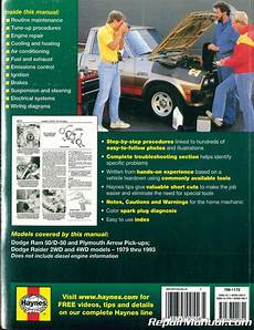 car repair manual download 1993 dodge ram 50 seat position control haynes dodge ram 50 d50 pick up raider and plymouth arrow pick up 1979 1993 a ebay