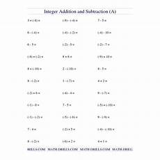 free math worksheet integer addition and subtraction