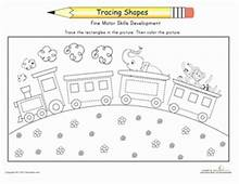 Trace The Train  Kindergarten Coloring Pages