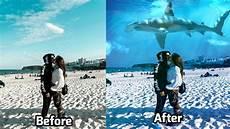 Cara Edit Foto Ikan Hiu Di Langit Speedart