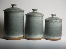 pottery kitchen canister sets pottery canister set in grey blue