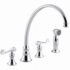 kitchen faucet 4 kohler revival 4 kitchen sink faucet with 11 13 16 quot spout matching finish sidespray and