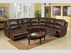 Wine Bonded Leather Modern Reclining Sectional Sofa w/Console