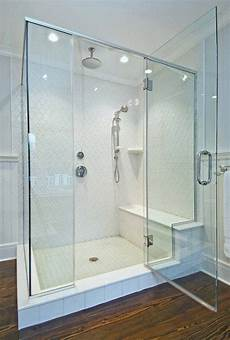 Walk In Shower W Glass Doors And Seats Walk In Shower