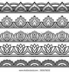 Indianische Muster Malvorlagen Lyrics Vector Henna Seamless Borders Set Mehndi Style Set Of