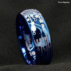 8mm shiny blue dome tungsten carbide ring laser circuit board atop men s jewelry ebay