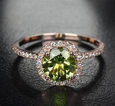 7mm peridot 14k rose gold pave diamonds engagement promise halo wedding ring etsy 329 00