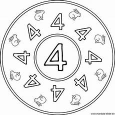Mandala Malvorlagen Mit Zahlen Mandala Ausmalbild Mit Der Zahl Vier Zahlenarbeitsblatt