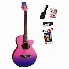 pink guitar 7 8 size acoustic guitar package pink purple fade bashs