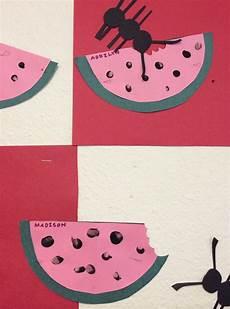 quot picnic quot finger print watermelons ants arts and