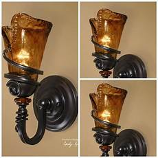 four 14 quot bronze metal glass electric wall sconce fixture