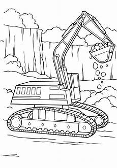 digger tractor is digging coloring page with images