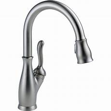 delta leland pull kitchen faucet delta leland arctic stainless finish pull sprayer kitchen faucet faucetlist