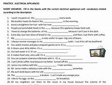 electrical appliances vocabulary worksheet