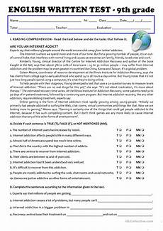 the internet test 9th grade a2 b1 english esl worksheets