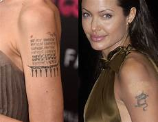 angelina jolie s tattoos and the sweet meanings behind