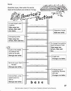 division ladder worksheets 6260 america s pastime word ladder grades 2 3 printable skills sheets