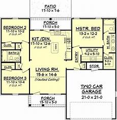 european style house plan 3 beds 2 baths 1300 sq ft plan