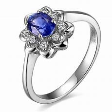 flower shape sapphire and diamond engagement ring jeenjewels