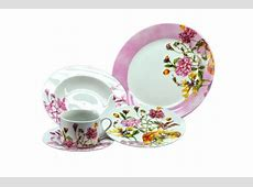 20 Piece Dinnerware Set Service for 4, pink and flower