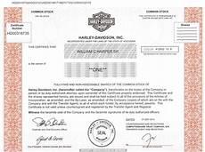 Harley Davidson Certification by Harley Davidson Inc Stock Certificate