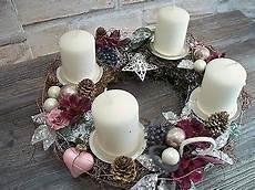 adventskranz edel lieblich lila rosa wei 223 silber kranz