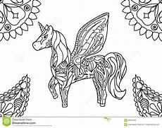 unicorn with mandalas coloring page stock illustration