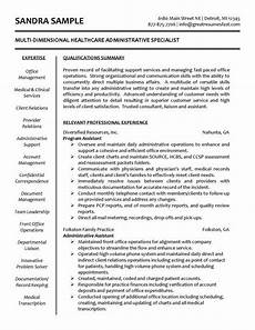 healthcare specialist administrative assistant resume