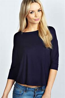 3 4 length sleeve tops boohoo womens slash neck waist length oversized 3