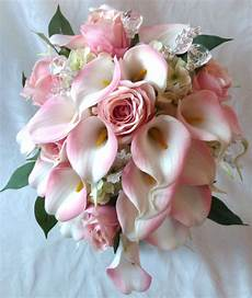 blush pink rose and pink calla cascading wedding bouquet