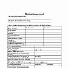 mieter selbstauskunft formular
