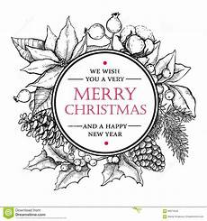 vector merry christmas and happy new year drawn vintage ill stock vector image 60674556