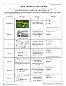 search for nonfiction text features worksheet education com