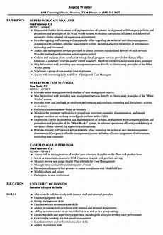 case manager supervisor resume sles velvet