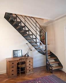 escalier metal et bois escalier quart tournant structure en m 233 tal marche en